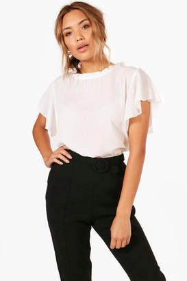 boohoo Woven Frill Sleeve And Neck Blouse