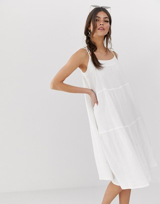 Asos Design DESIGN cheesecloth tiered midi sundress with tie straps-White