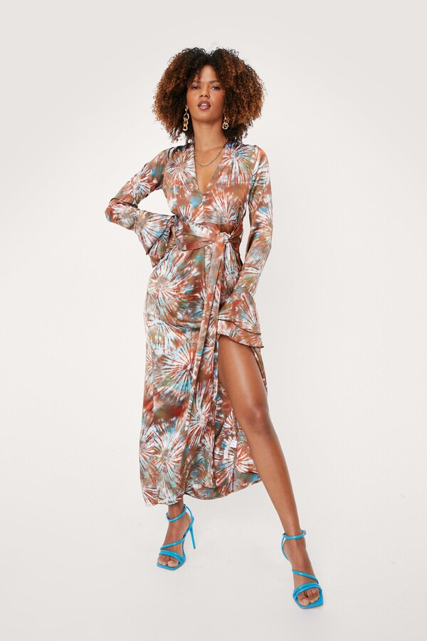Thumbnail for your product : Nasty Gal Womens Plunging Tie Dye Print Belted Maxi Dress - Brown - 4