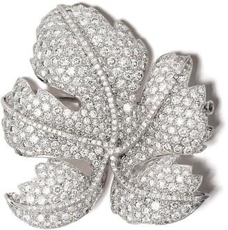 David Morris 18kt white gold diamond Leaf brooch