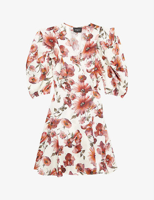 The Kooples Floral satin wrap mini dress