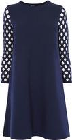 Karen Millen Lattice-sleeve Dress - Navy