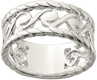 Sterling Silver Twisted Edge Spiral Scroll Ring
