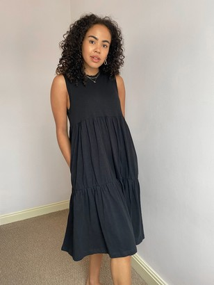 AND/OR Tiered Slub Jersey Dress, Black