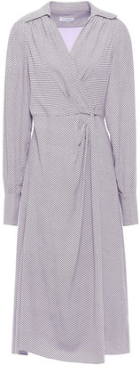 Equipment Gilliane Pleated Checked Crepe Wrap Dress