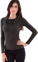 Clothes Effect Ladies Cowl Neck 3/4 Sleeve Ribbed Top