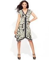 INC International Concepts Dress, Cap-Sleeve Printed Handkerchief-Hem