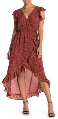 KENEDIK Leopard Print Faux Wrap High/Low Dress