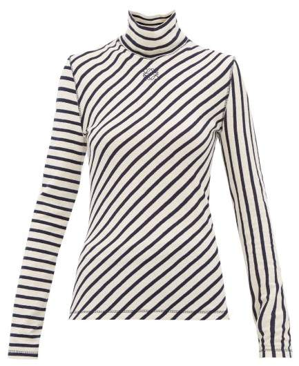 cdae35a440 Striped High Neck Cotton Sweater - Womens - Navy White