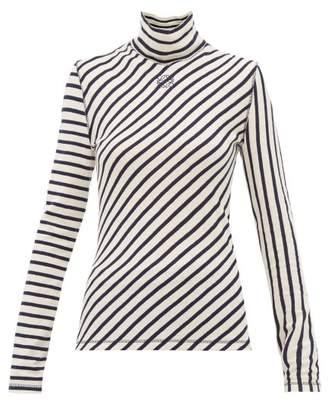 Loewe Striped High-neck Cotton Sweater - Womens - Navy White