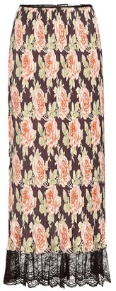 Paco Rabanne Lace-trimmed pleated floral skirt