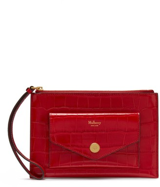 Mulberry Pouch With Wristlet Scarlet Croc Print