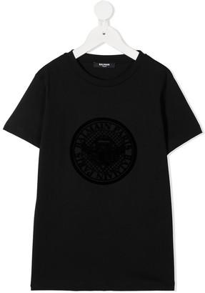 Balmain Kids logo embroidered T-shirt