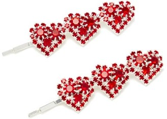 Art School Heart Crystal-embellished Hair Slides - Red