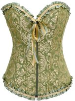 Anvoro Women's Tapestry Front Zipper Corset With G-String Brocade Bustier
