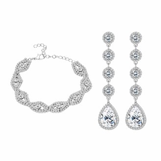 Udalyn Rhinestone Crystal Bracelets Teardrop and Dangle Earrings for Women Bridal Wedding Bridesmaid Party Birthday Prom Jewelry Gift