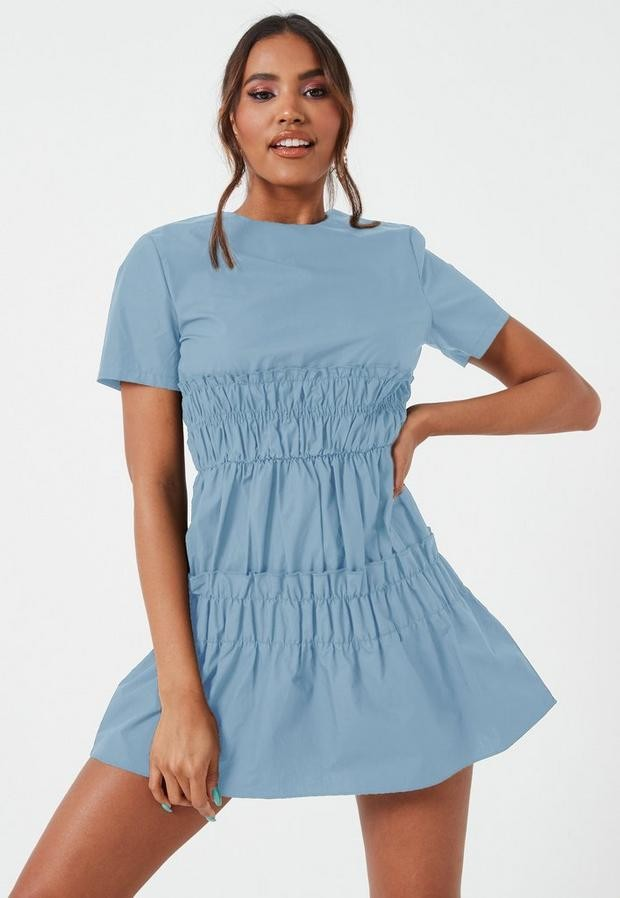 Missguided Blue Ruched Waist Short Sleeve Mini Dress