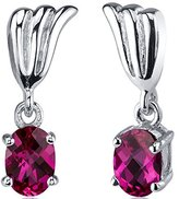 Peora Striking 2.00 Carats Created Ruby Oval Cut Earrings in Sterling Silver Rhodium Nickel Finish
