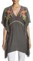 Johnny Was Cherise V-Neck Embroidered Poncho Top, Iron Steel