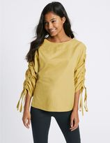 Marks and Spencer Pure Cotton Slash Neck Ruched Sleeve Blouse