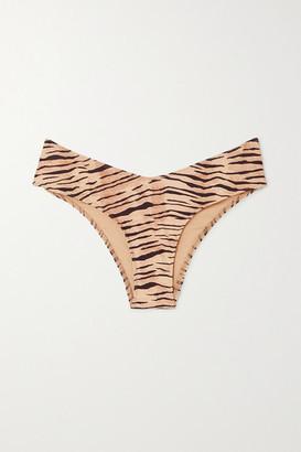 Faithfull The Brand Ida Tiger-print Bikini Briefs - Taupe