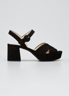 Prada 65mm Suede Crisscross Platform Sandals