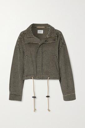 Nanushka Logan Houndstooth Wool And Silk-blend Jacket - Black