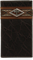 Ariat Diamond Cross Brown Rodeo Leather Checkbook Cover Wallet