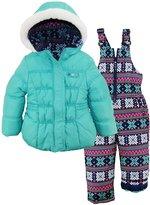Pink Platinum Little Girls' Snowflake Print Snowsuit