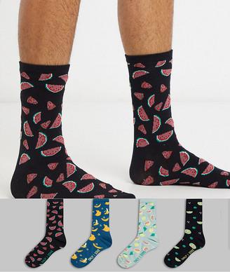 ONLY & SONS 4 pack socks in fruit print