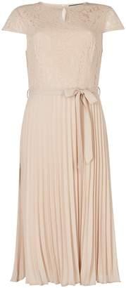 Dorothy Perkins Womens Nude Lace Pleated Midi Dress, Nude