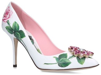 Dolce & Gabbana Leather Tropical Rose Pumps 100