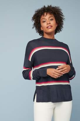 Next Womens Navy Stripe Button Jumper - Blue