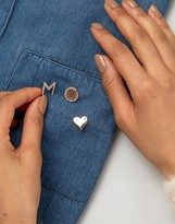 Johnny Loves Rosie Heart Pin Set with Initial M