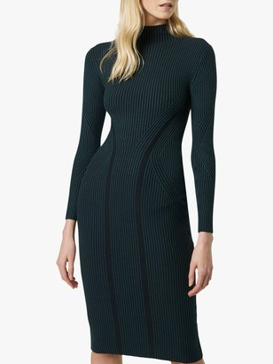 French Connection Simona Stripe Bodycon Midi Dress, Twilight Green/Black