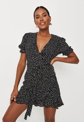 Missguided Black Polka Dot Ruffle Hem Wrap Tea Dress