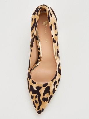 Very Daska Point Block Heel Court Shoes - Leopard Print