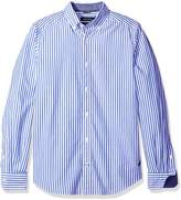 Nautica Men's Long Sleeve Poplin Medium Bengal Stripe Shirt