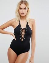 Pistol Panties Myriam Lace Up Plunge Swimsuit