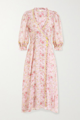 LoveShackFancy Sarabeth Rickrack And Lace-trimmed Floral-print Cotton Midi Dress - Baby pink