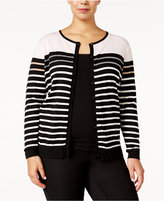 August Silk Plus Size Striped Cardigan