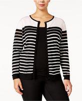 August Silk Plus Size Striped Cardigan