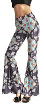 Uideazone Women's Unicorn Stretch Waist Flared Bell Bottom Palazzo Pants Black