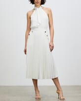 Thumbnail for your product : Reiss Women's White Midi Dresses - Nina Halterneck Pleated Midi Dress - Size 10 at The Iconic