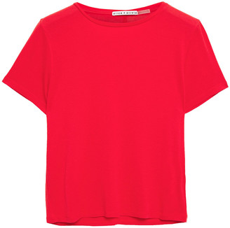 Alice + Olivia Cropped Stretch-jersey T-shirt