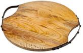 Godinger Large Iron Handle Round Wood Tray
