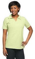 As Is Denim & Co. Essentials Short Sleeve Split Neck Polo Shirt