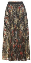 Roberto Cavalli Metallic Pleated Fil Coupé Silk-blend Skirt