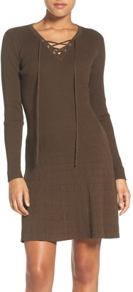 Fraiche by J Lace-Up Long Sleeve Sweater Dress