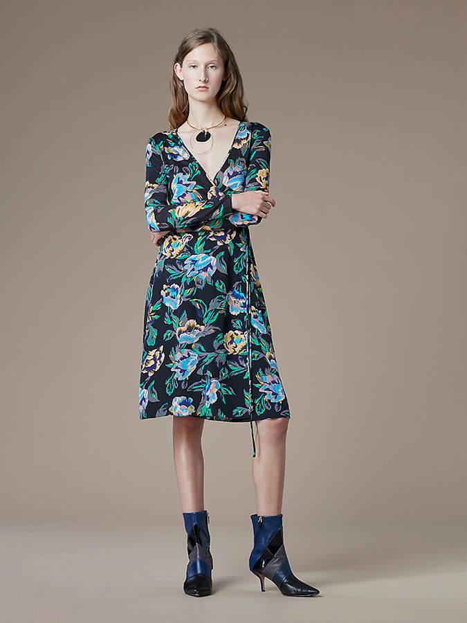 Diane von Furstenberg Long-Sleeve Silk Jersey Wrap Dress